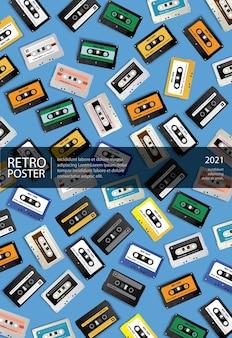 Cartel de cinta de cassette retro vintage con patrones sin fisuras