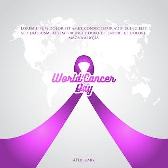 Cartel de la cinta púrpura día mundial del cáncer