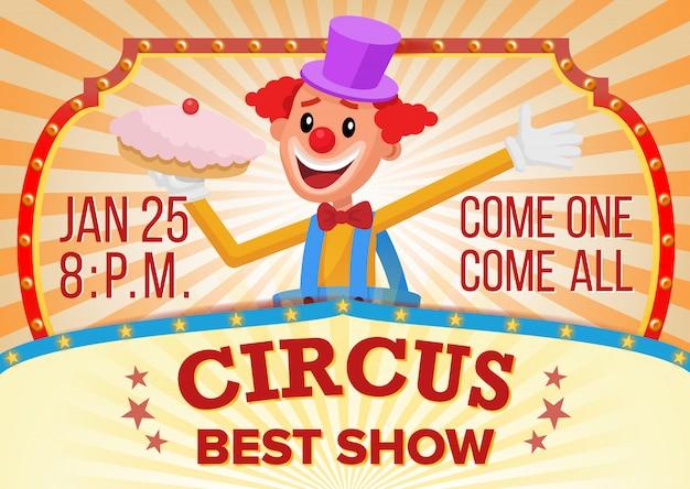 Cartel de circo payaso en blanco.