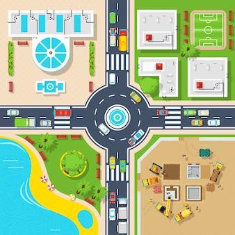 Cartel de la ciudad de vista superior