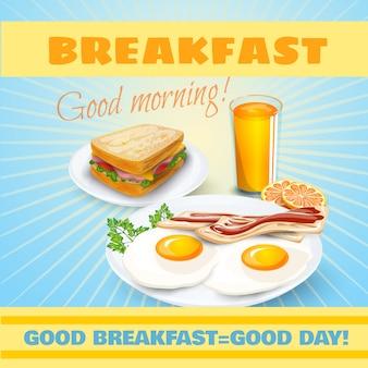 Cartel clásico desayuno