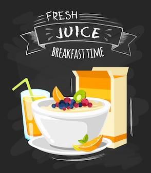 Cartel clásico del menú del desayuno del hotel.