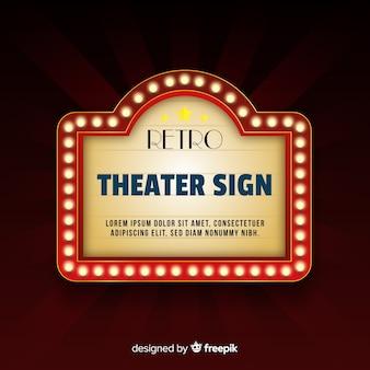 Cartel clásico de teatro con luces de neón