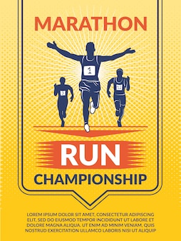 Cartel para club deportivo. corredores de maratón