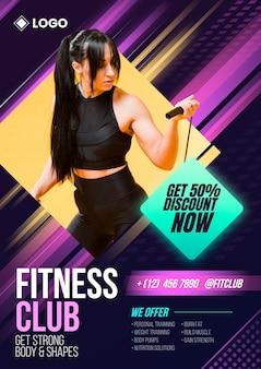 Cartel de club de fitness degradado con plantilla de foto
