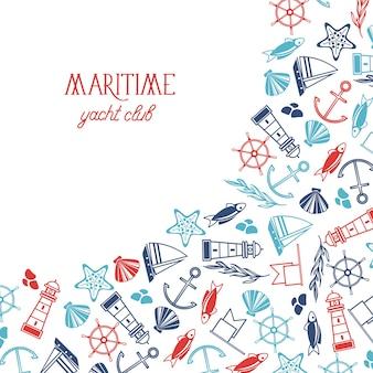 Cartel del club náutico colorido marítimo dividido