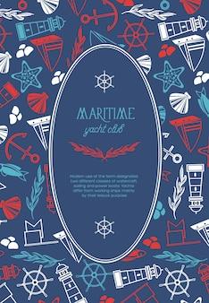 Cartel del club náutico ovalado marítimo dividido en dos partes