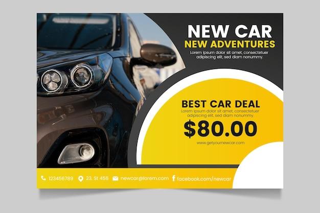 Cartel de coche degradado a4 con foto horizontal Vector Premium