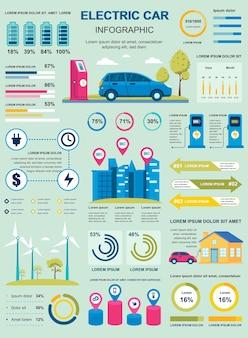 Cartel de coche eléctrico con plantilla de elementos infográficos en estilo plano