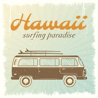 Cartel del coche de surf