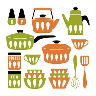 Cartel de cocina moderna de mediados de siglo.