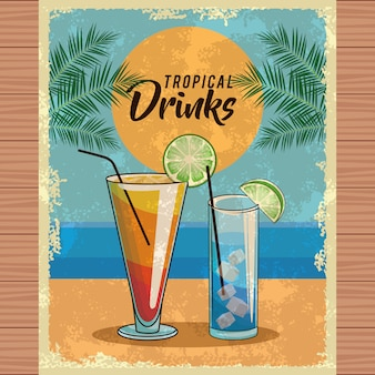 Cartel de cóctel tropical