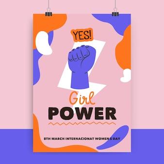 Cartel colorido abstracto del día de la mujer