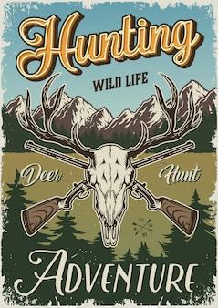 Cartel colorido de caza vintage