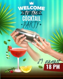 Cartel colorido de cóctel realista con manos de barman haciendo deliciosas bebidas