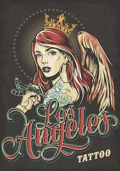 Cartel colorido de la convención de tatuajes vintage