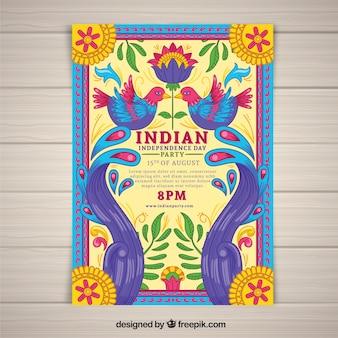 Cartel colorido del día de la independencia de la india