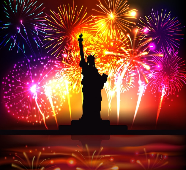 Cartel colorido del día de la independencia con la silueta de la estatua de la libertad en la ilustración realista de brillantes fuegos artificiales festivos