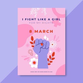 Cartel colorido del día de la mujer del doodle