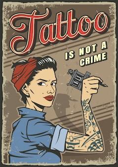 Cartel colorido del estudio de tatuajes vintage