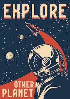 Cartel colorido de exploración espacial