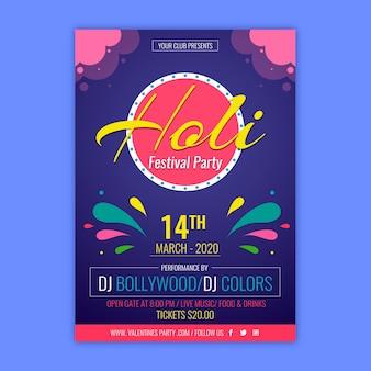 Cartel colorido del festival para el evento holi