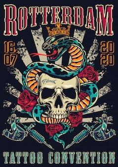 Cartel colorido del festival de tatuajes vintage