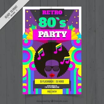 Cartel colorido de fiesta de los ochenta