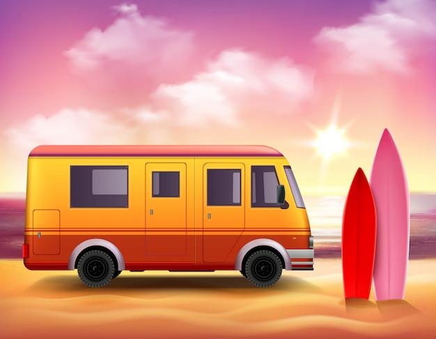 Cartel colorido del fondo 3d de van que practica surf