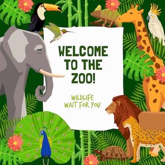 Cartel colorido con invitación para visitar el zoológico