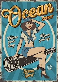 Cartel colorido marino vintage con pin up girl