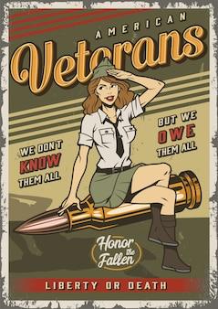 Cartel colorido marino vintage con pin up girl