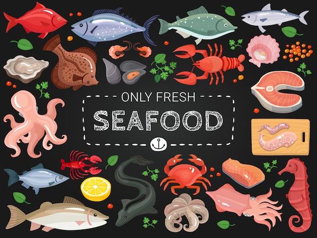 Cartel colorido del menú de la pizarra de los mariscos