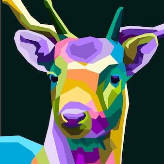 Cartel colorido del retrato del arte pop de los ciervos decoración aislada del vector premium