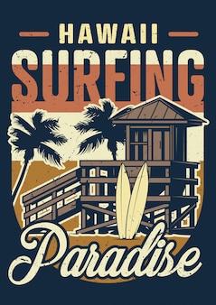Cartel colorido de surf vintage hawaii