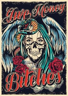 Cartel colorido del tatuaje de chicano