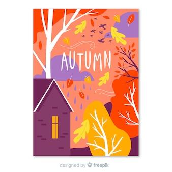 Cartel colorido de la temporada de otoño