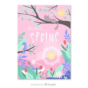 Cartel colorido de la temporada de primavera