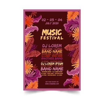 Cartel colorido tropical de la música