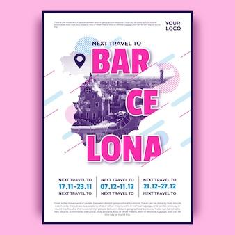 Cartel colorido de viaje de barcelona