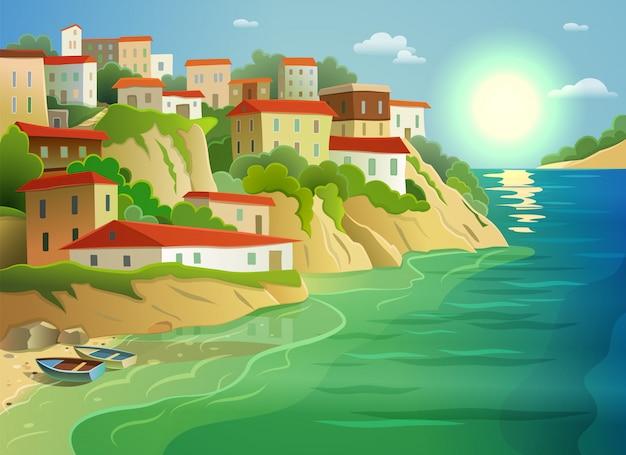 Cartel colorido de la vida del pueblo costero del mar