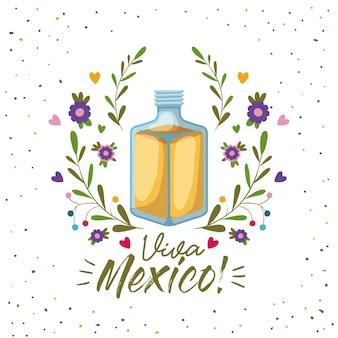 Cartel colorido de viva méxico con botella de tequila