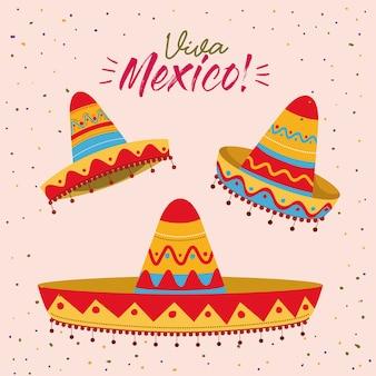 Cartel colorido viva méxico con conjunto de sombreros mexicanos