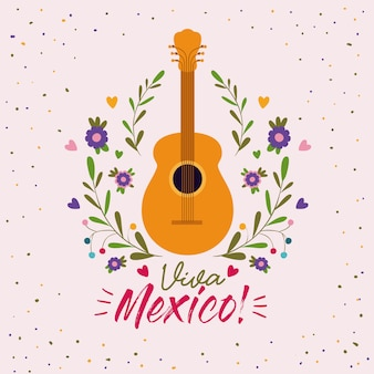 Cartel colorido de viva méxico con guitarra acústica