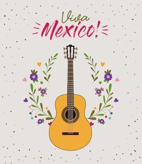 Cartel colorido viva méxico con guitarra en primer plano