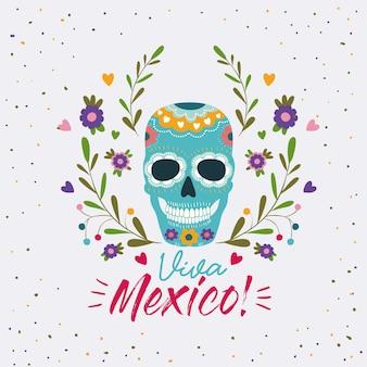 Cartel colorido de viva méxico con máscara decorativa de calavera