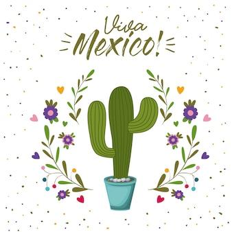 Cartel colorido de viva méxico con planta de cactus