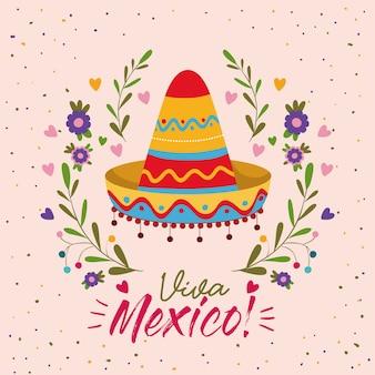 Cartel colorido de viva méxico con sombrero mexicano