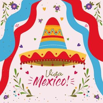 Cartel colorido de viva méxico