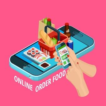 Cartel de comercio electrónico isométrico de pedido de comida en línea